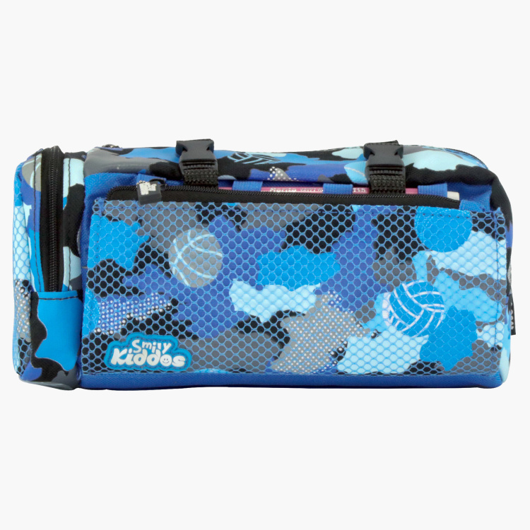 Smily Camo Printed Pencil Case with Buckle Closure