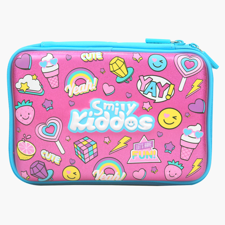 Smily Kiddos Printed Double Compartment Pencil Case with Zip Closure