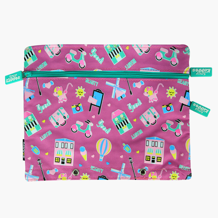 Smily Kiddos Printed Pencil Case  with Zip Closure