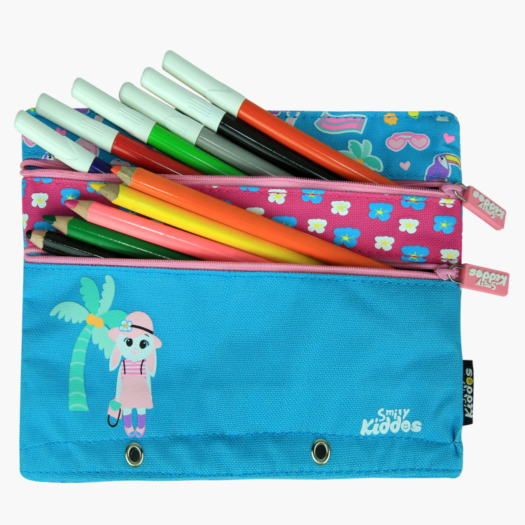 Smily Printed Pencil Case with Zip Closure
