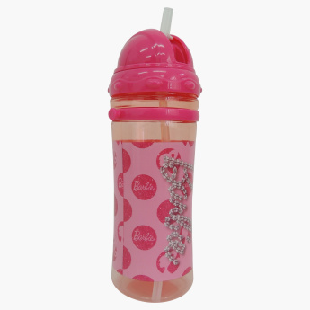 Barbie Printed Water Bottle with Straw - 500 ml