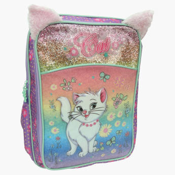 Juniors Printed Backpack with Cat Ear Applique Detail - 18 inches