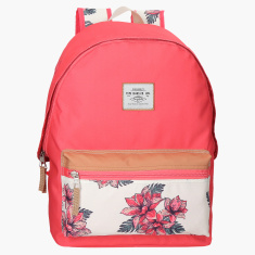 Pepe Jeans Dori Floral Printed Backpack with Zip Closure