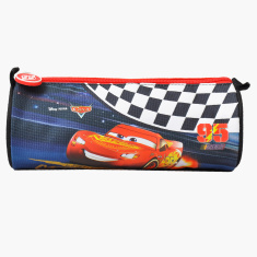 Cars Printed Round Pencil Case with Zip Closure