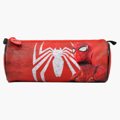 Spider-Man Printed Round Pencil Case with Zip Closure