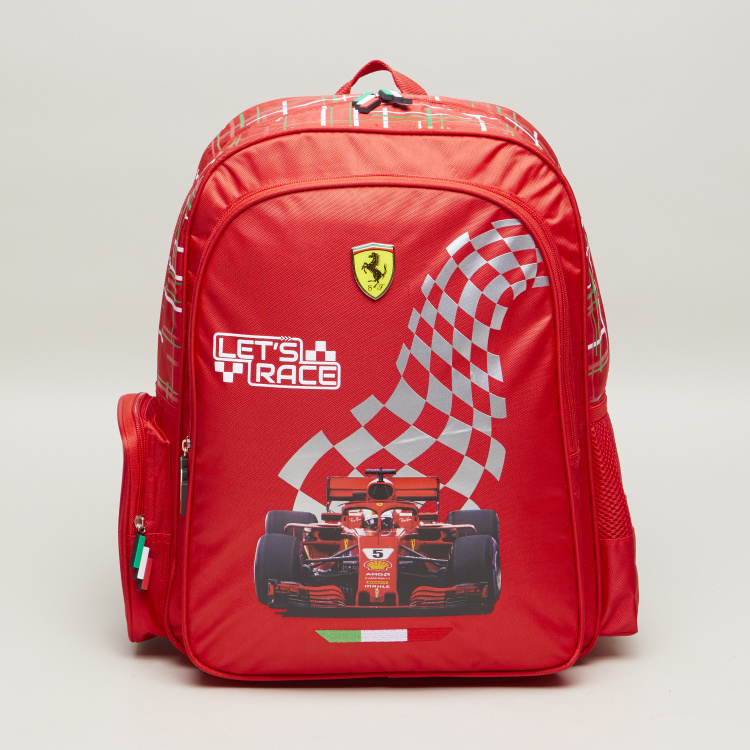 Ferrari Race Time Printed Backpack with Adjustable Straps - 16 inches