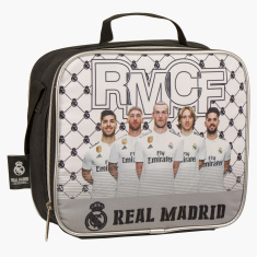 Real Madrid Printed Lunch Bag with Zip Closure and Adjustable Strap