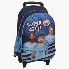 Manchester City Printed Trolley Bag with Side Pockets - 18 inches