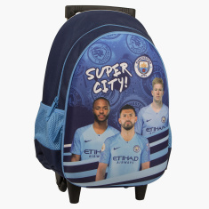 Manchester City Printed Trolley Bag with Side Pockets - 16 inches