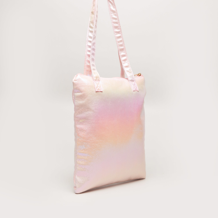 Charmz Printed Beach Bag with Zip Closure