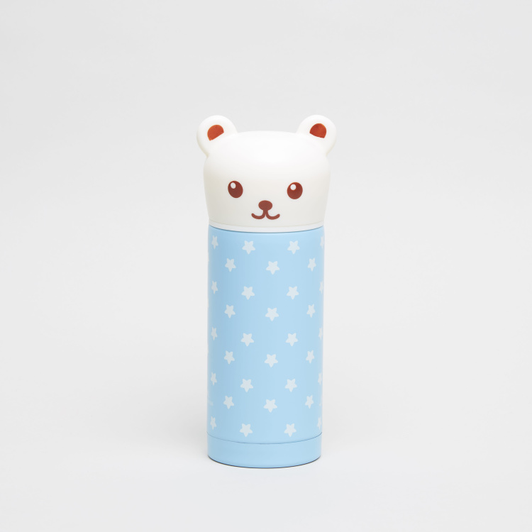 Juniors Printed Thermos Flask with Teddy Bear Shaped Cap - 250 ml