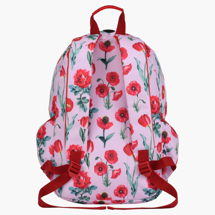 Roco Floral Printed Backpack with Adjustable Straps and Pencil Case
