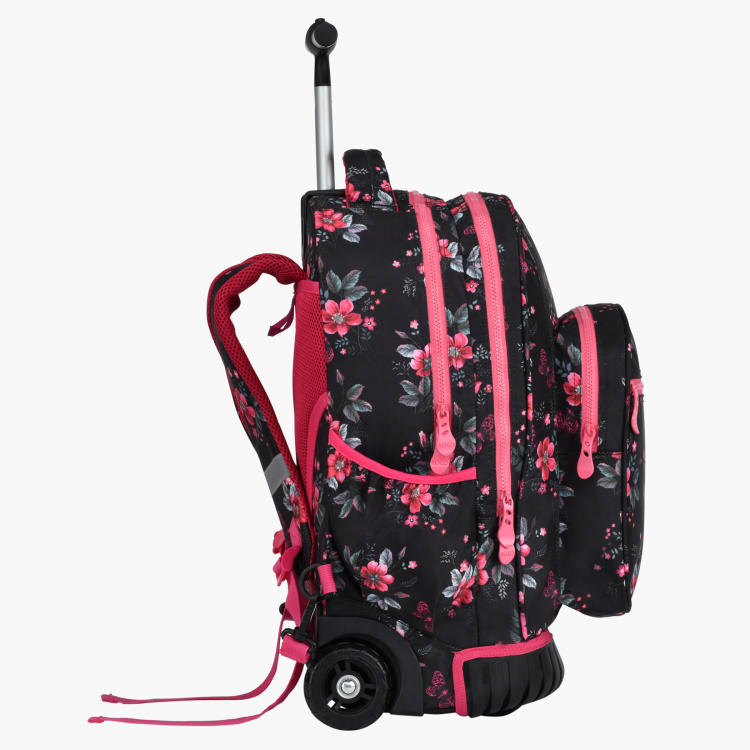 Roco Floral Printed Trolley Backpack with Adjustable Straps