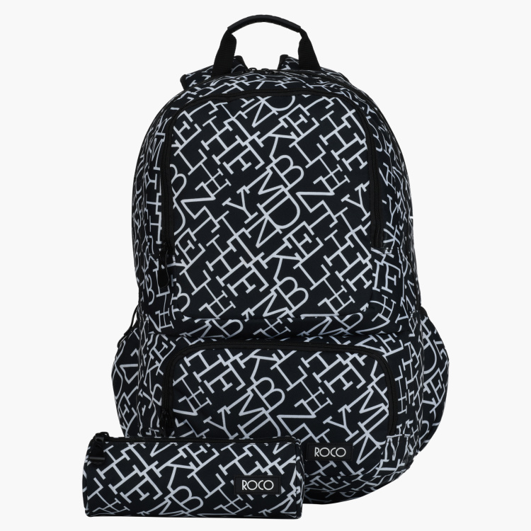Roco Printed Backpack with Zip Closure and Pencil Case
