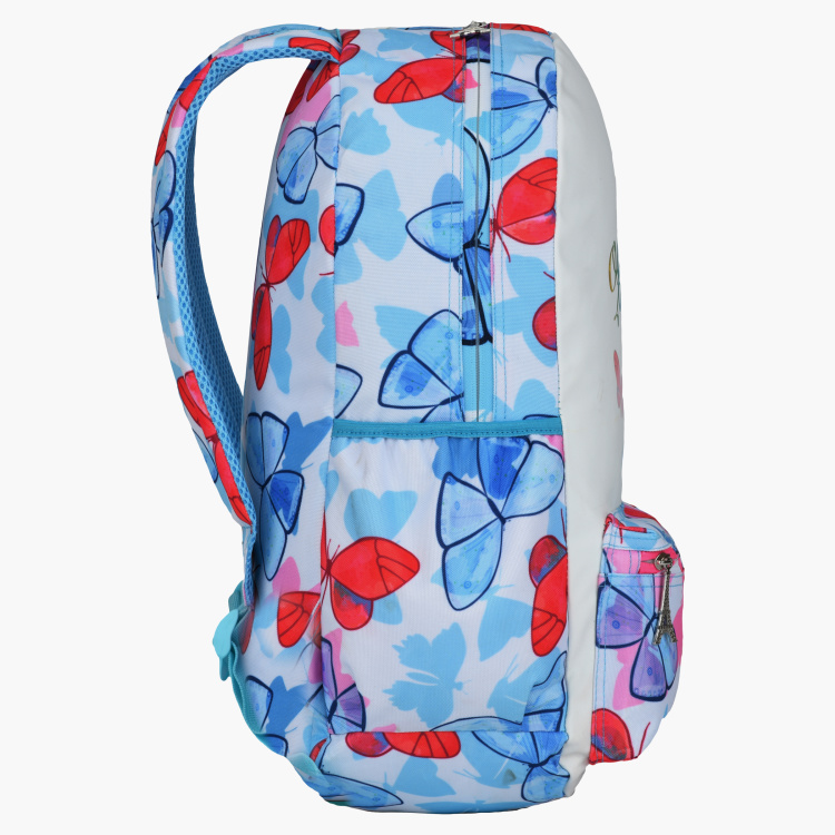 Butterfly Printed Backpack with Zip Closure and Pencil Case