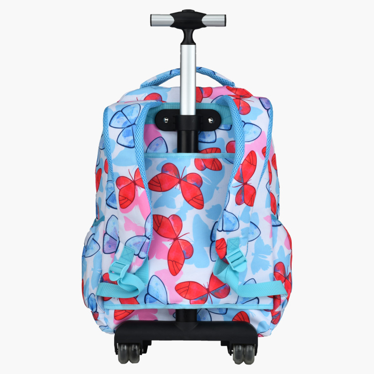Printed Trolley Backpack with Adjustable Straps and Pencil Case