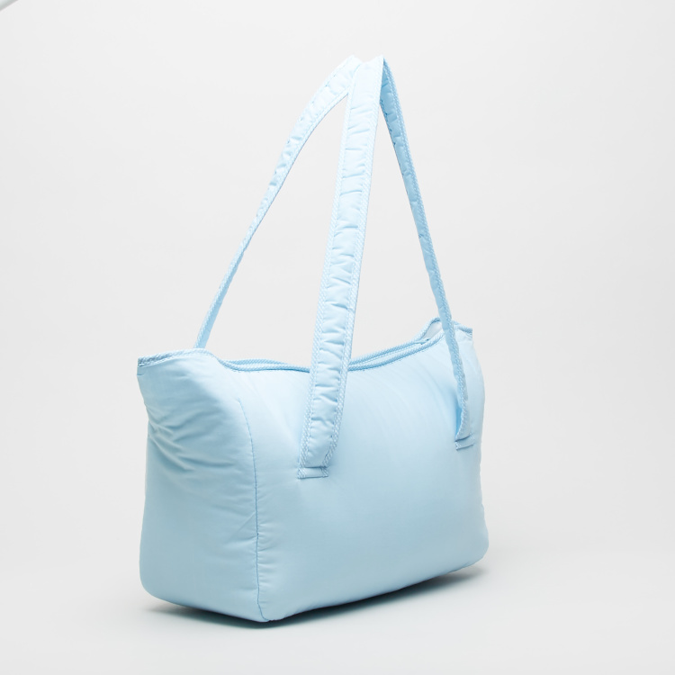 Juniors Textured Diaper Bag with Twin Handles and Adjustable Strap