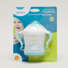 Juniors Rain Print Sipper Cup with Handle and Straw - 250 ml