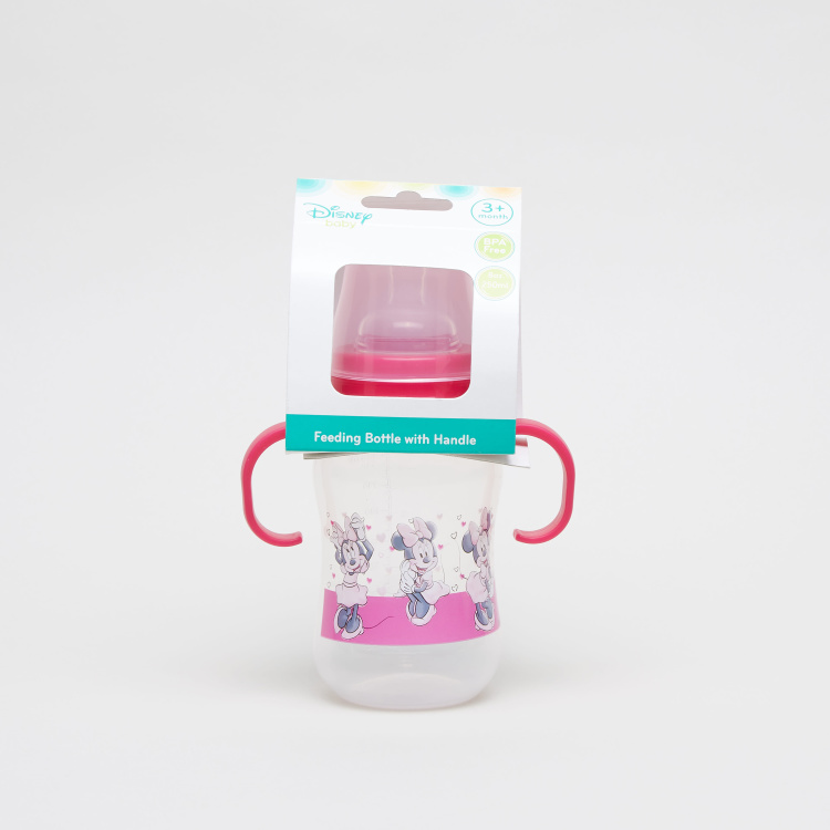 Minnie Mouse Print Feeding Bottle with Handle - 250 ml