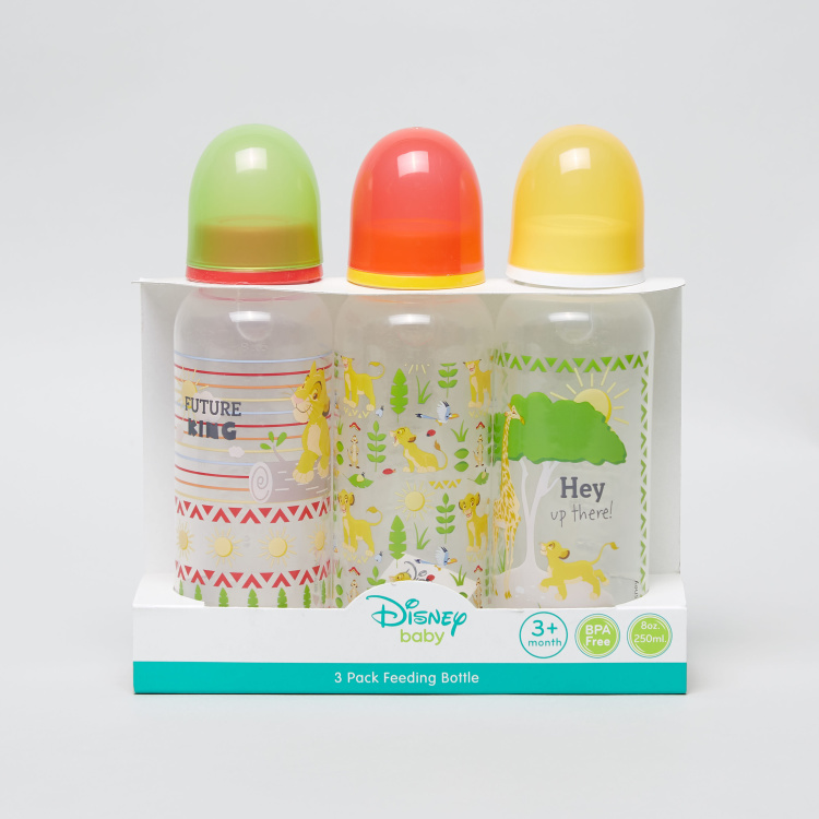 Lion King Print 3-Piece Feeding Bottle - 250 ml