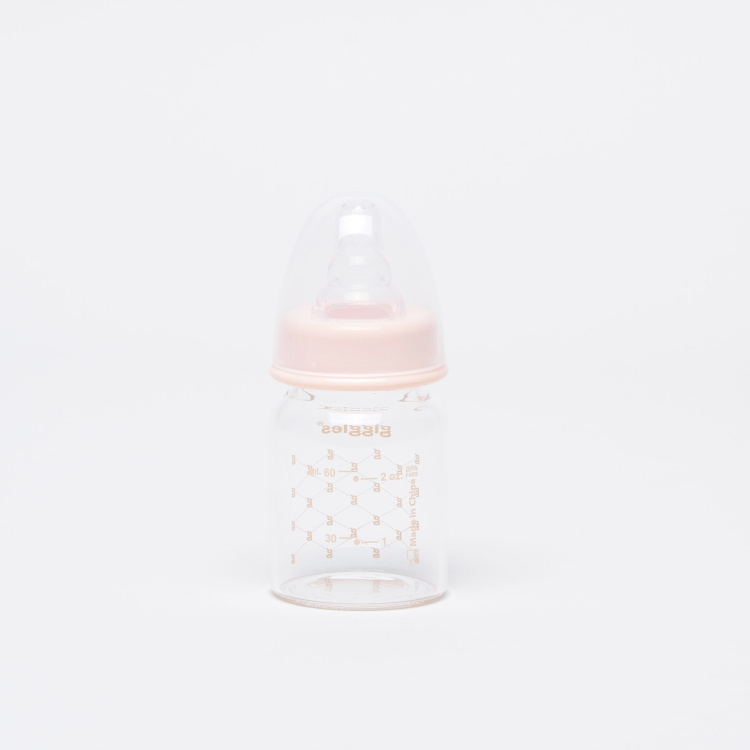 Giggles Glass Feeding Bottle with Cap - 60 ml