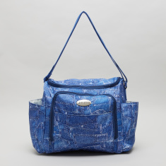 Juniors Denim Diaper Bag with Zip Closure