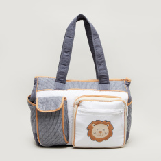 Juniors Embroidered Patch Diaper Bag