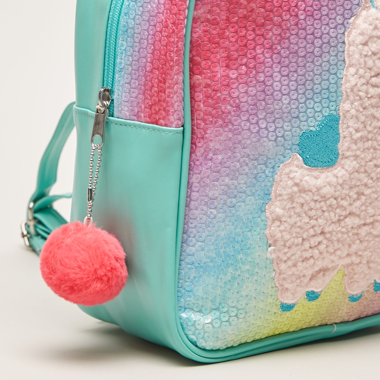 Juniors Textured Backpack with Pom Pom Applique