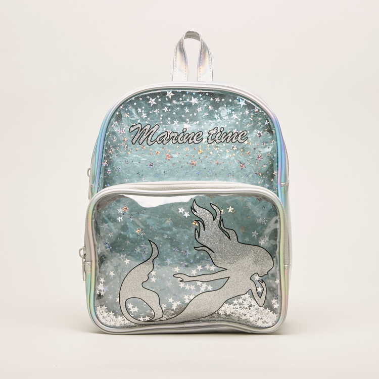 Juniors Star Print Backpack with Zip Closure