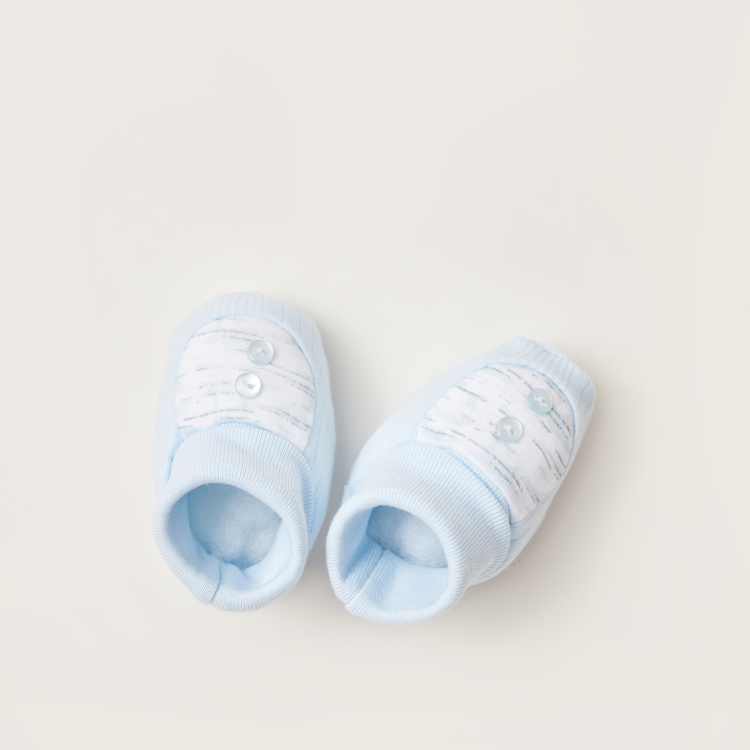 Juniors Printed Baby Booties with Button Detail