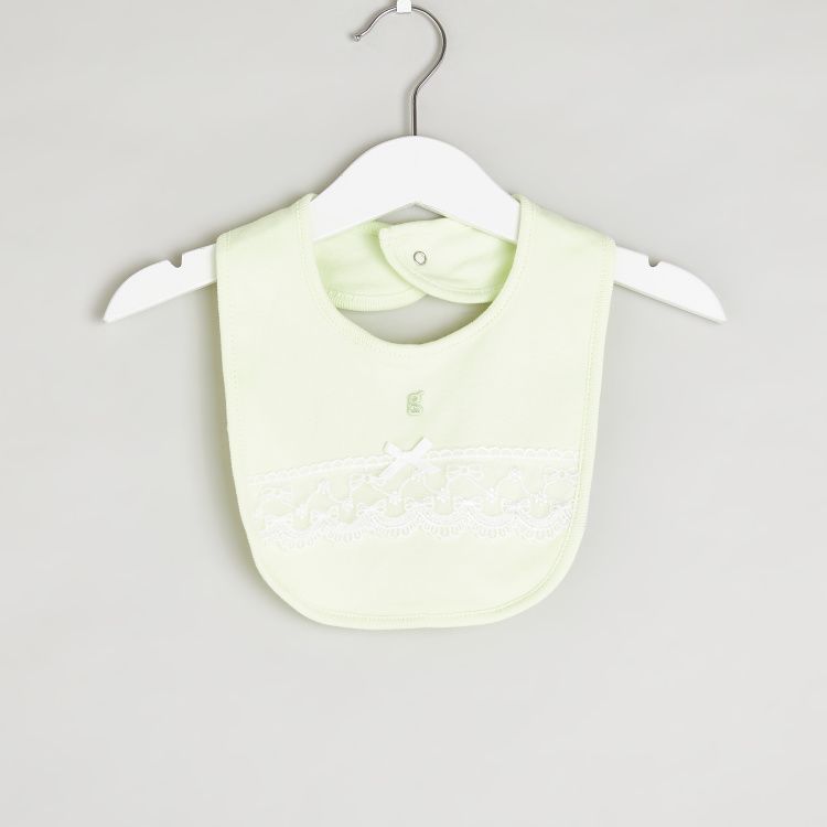Giggles Lace Detail Bib with Press Button Closure