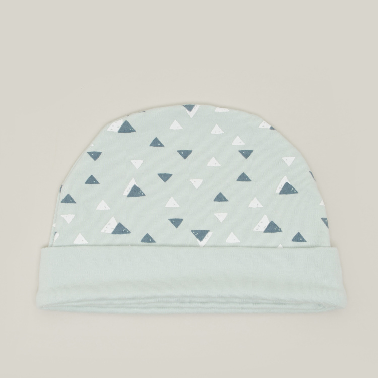 Juniors Printed Cap with Rolled-Up Hem