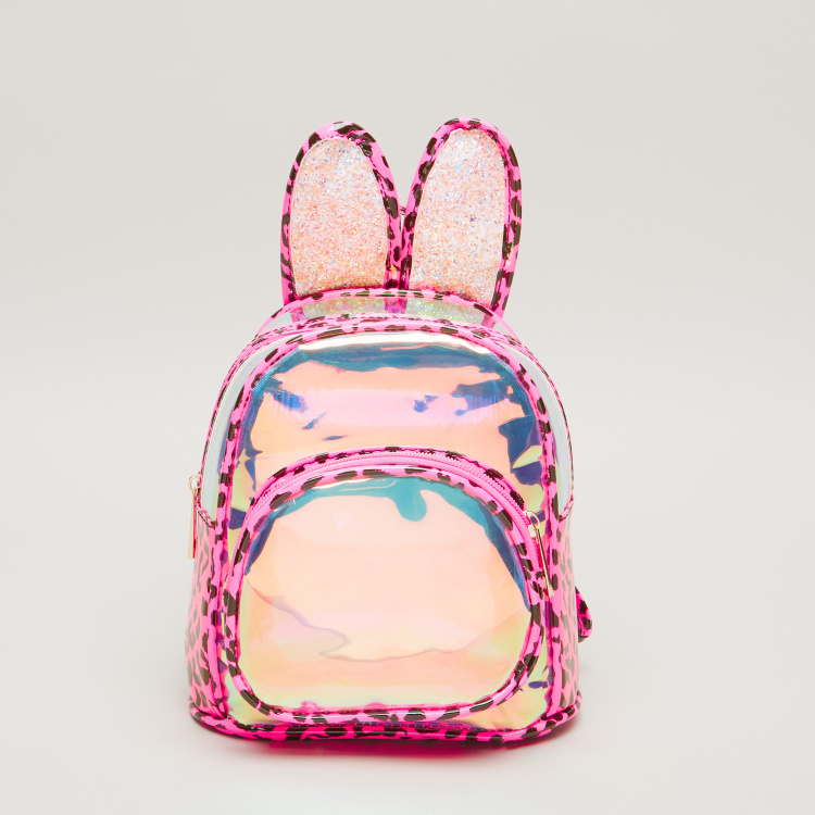 Charmz Printed Backpack with Applique Detail