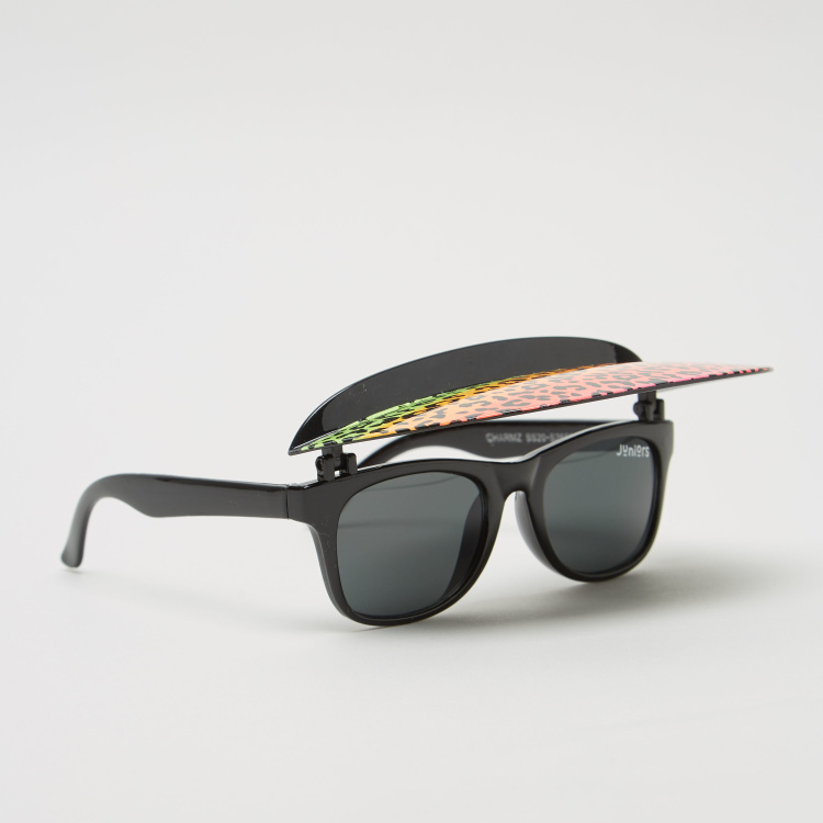 Juniors Solid Sunglasses with Foldable Printed Visor