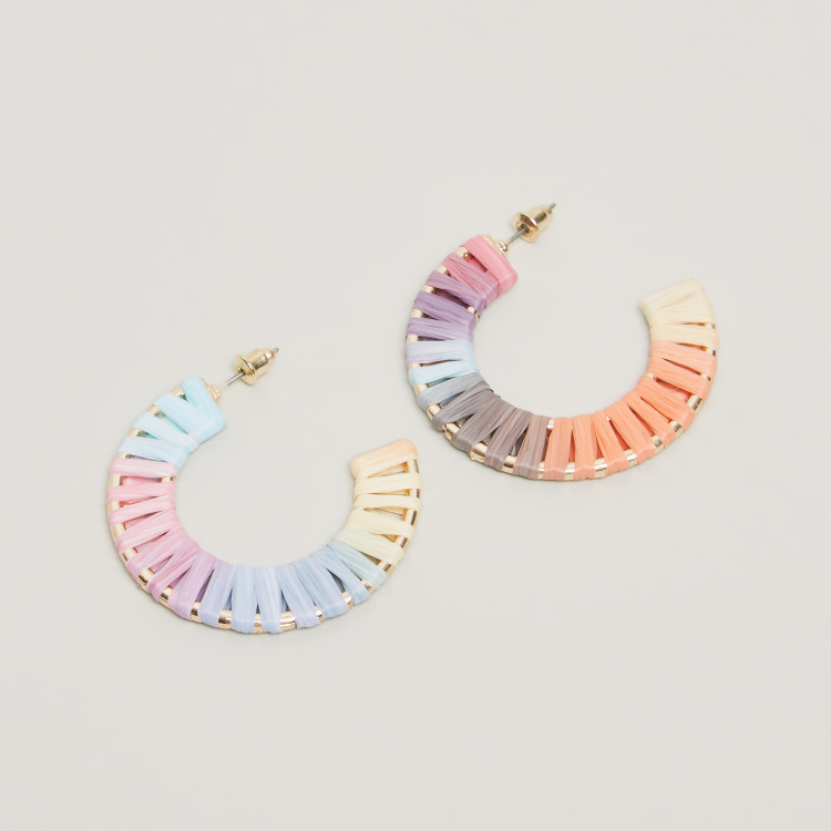 Charmz Textured Dangling Earrings with Pushback Closure