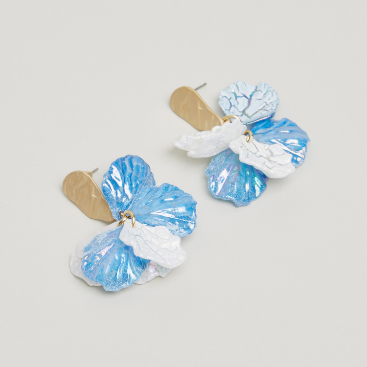 Charmz Flower Applique Detail Dangling Earrings with Pushback Closure
