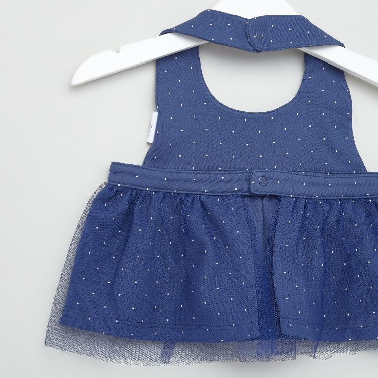 Juniors Polka Dot Print Bib Dress and Diaper Shorts Set