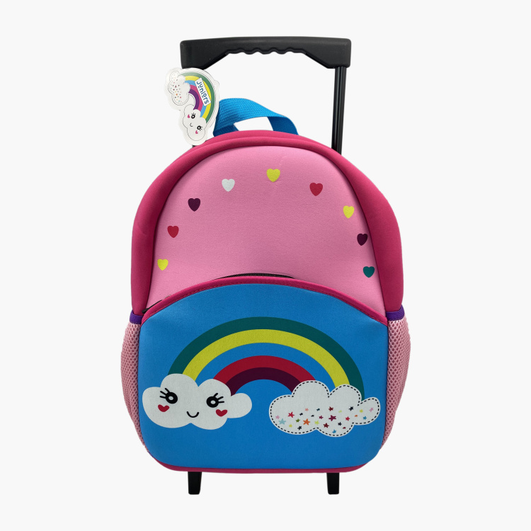 Juniors Rainbow Print Trolley Backpack with Retractable Handle