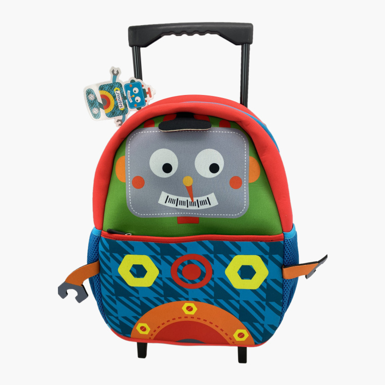 Juniors Robot Print Trolley Backpack with Zip Closure - 14 inches