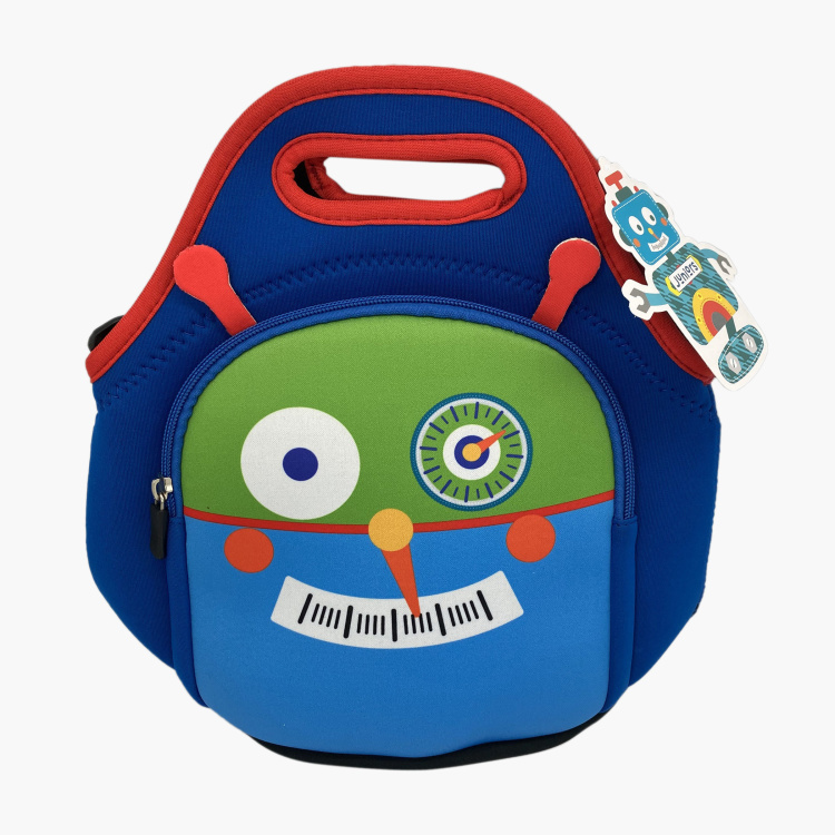 Juniors Robot Print Lunch Bag with Strap and Zip Closure