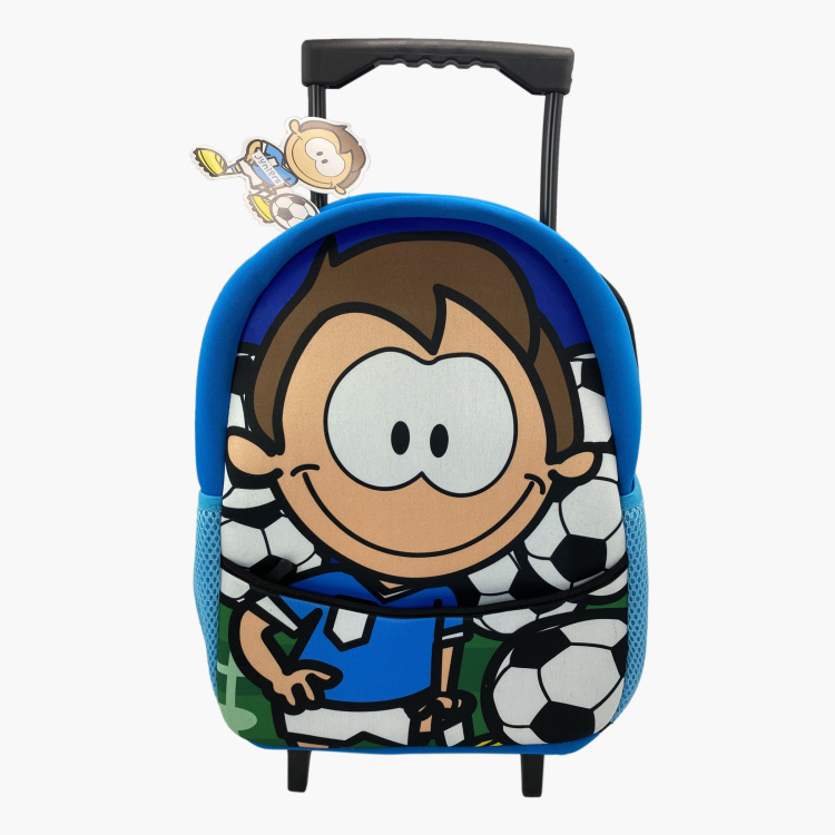 Juniors Graphic Print Trolley Backpack with Retractable Handle