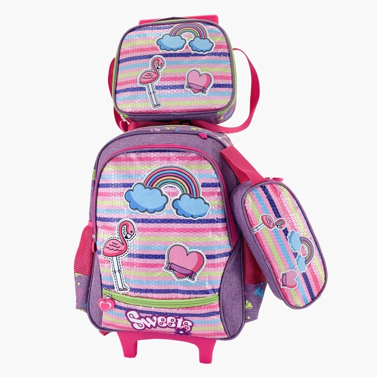 Juniors Printed 3-Piece Trolley Backpack Set - 16 inches