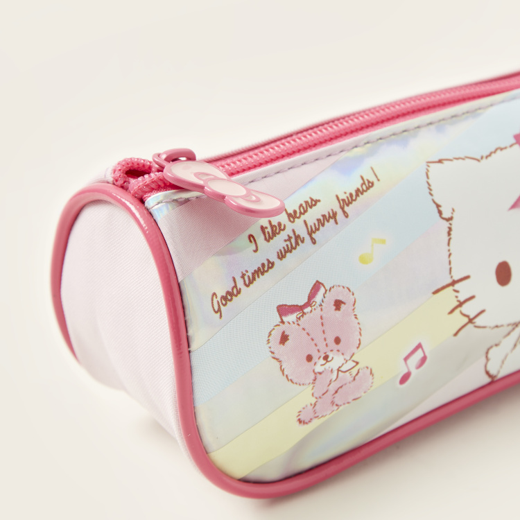 Hello Kitty Print Pencil Case with Zip Closure