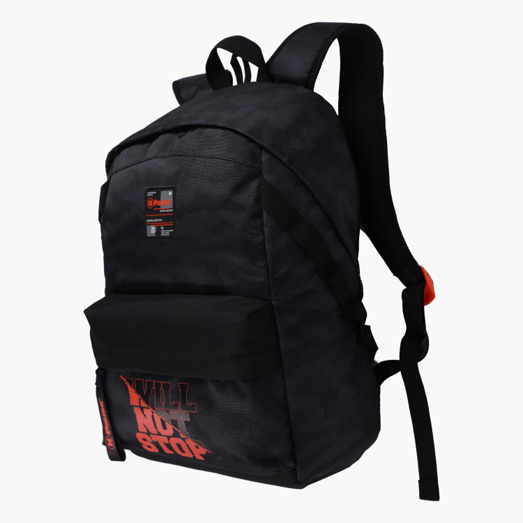 Pause Printed Backpack with Adjustable Straps and Zip Closure