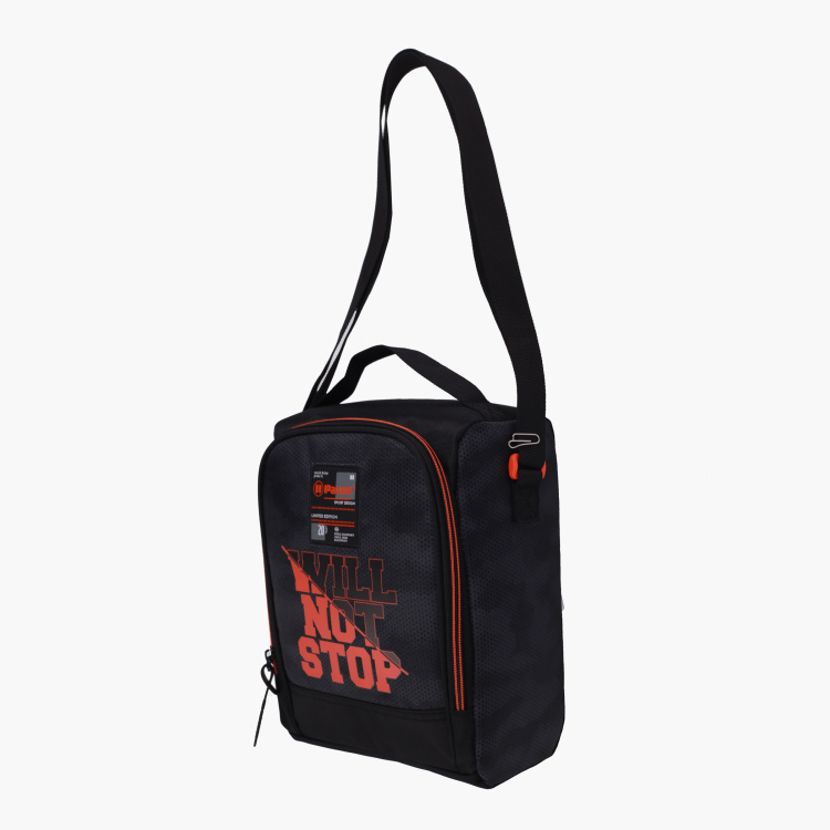 Pause Printed Lunch Bag with Adjustable Strap and Zip Closure