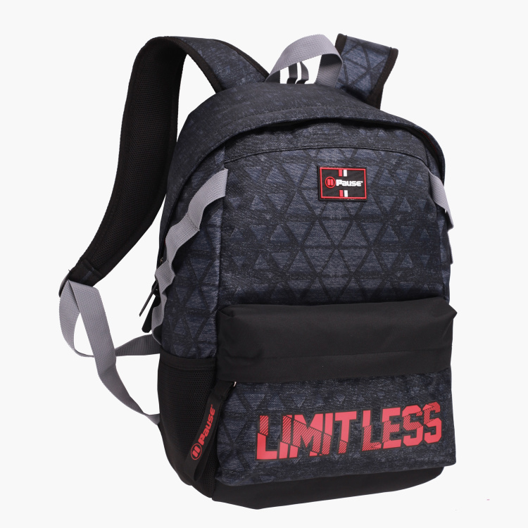 Pause Printed Backpack with Adjustable Shoulder Straps