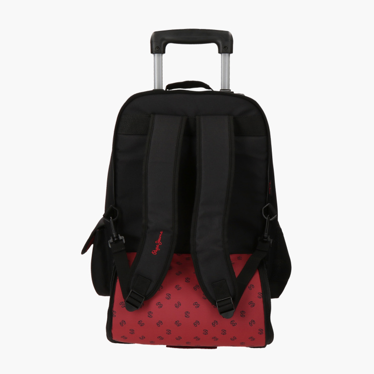 Pepe Jeans Printed Trolley Backpack with Adjustable Straps - 20 inches