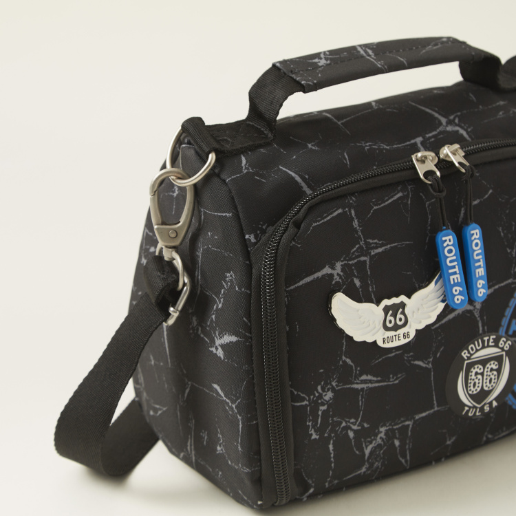 Busquets Route 66 Print Lunch Bag with Strap and Zip Closure