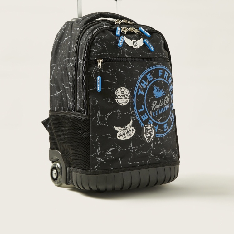 Busquets Printed Trolley Backpack with Adjustable Straps - 18 inches