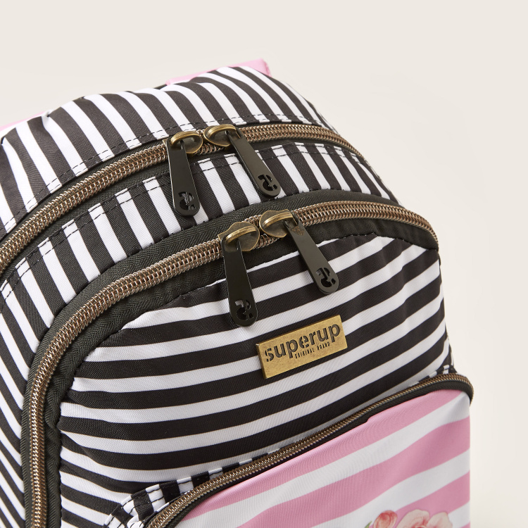 Busquets Rose Print Backpack with Pencil Case - 18 inches